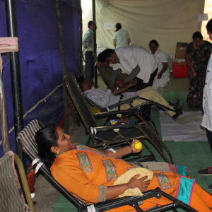 girls supporting blood camp
