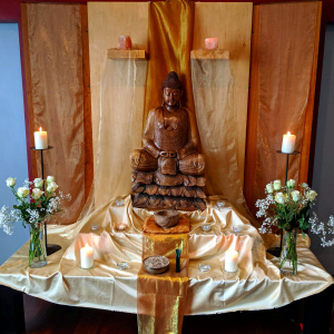 Buddha day shrine at the Dublin Buddhist Centre, Ireland