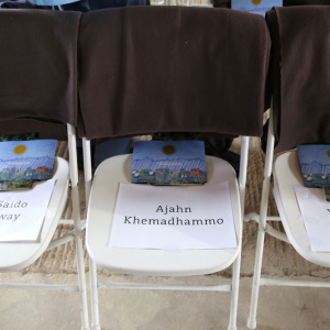 1,000 chairs were set up in the barn in Adhisthana.  All were full during the ceremony and many were standing outside the barn. A number of Buddhists from other traditions also attended to pay their respects to Urgyen Sangharakshita.