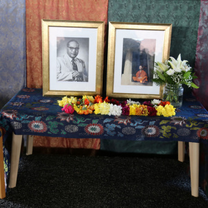 At the centre of the shrine were photos of Dr Ambedkar and Sangharakshita