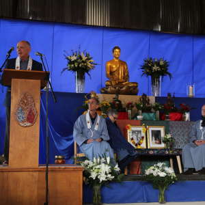 Subhuti makes the first of the three funeral addresses