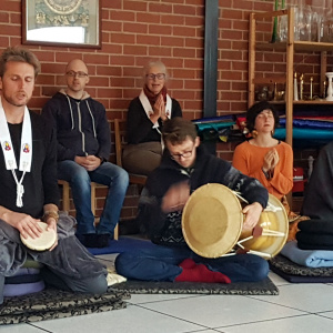 There was musical accompaniment during Buddha day celebrations at the Melbourne Buddhist Centre