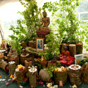 Nature inspired shrine for the Norwich Sangha's Buddha day celebrations on Saccaka's land in Norfolk